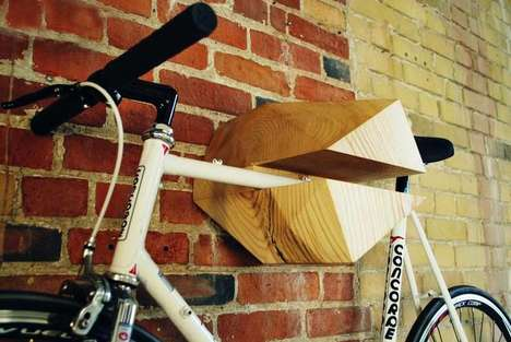 Handy Wooden Bike Hangers - This Beautiful Bike Rack Makes Good Use of Ash Trees