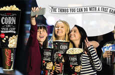 Drink-Topping Popcorn Cups - The 'Corn on the Cup' Provides a Hands-Free Experience at the Movies