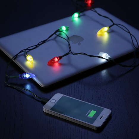 Holiday Garland Smartphone Chargers - This Charging Cable Design is Also a Set of Christmas Lights