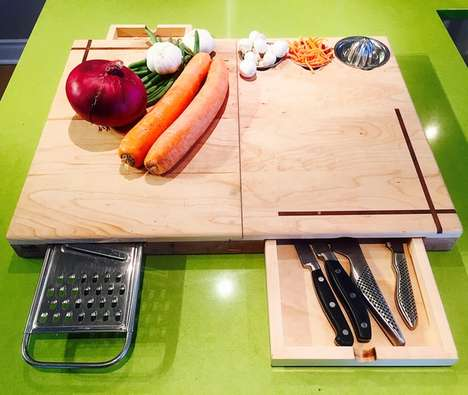 Multifunctional Cutting Boards - This Wooden Cutting Board Has Everything You Need to Prepare a Meal