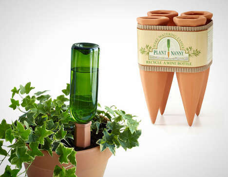 Wine Bottle Plant Hydrators - The 'Plant Nanny' Wine Bottle Stake Upcycles an Empty Vessel