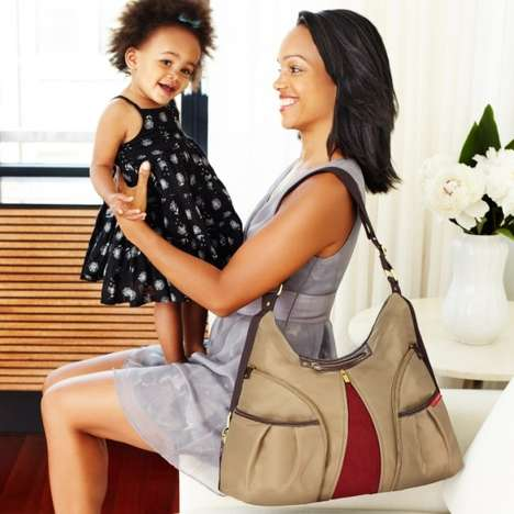 Designer Diaper Bags - The 'Skip Hop Versa' Expandable Purse Diaper Bag Fits New Mom Essentials