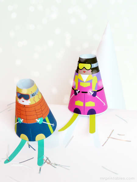 Wintry Papercraft Dolls - This Festive DIY Doll Craft Creates Cone-Shaped Playtoys