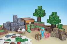 8-Bit Block Playsets - This Paper Minecraft Toy Set Takes the Game's Best Elements Offline
