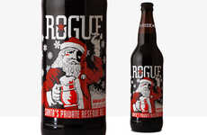Santa-Clad Beer Branding - This Christmas Beer Features the Face of a Scowling Santa Claus