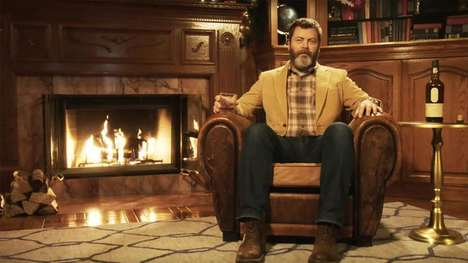Celeb Fireplace Videos - You Can Watch Nick Offerman and a Burning Yule Log This Holiday Season