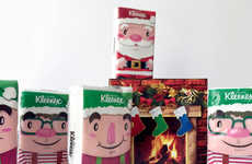 Festive Tissue Packages - These Kleenex Boxes Promote the Christmas Spirit with Playful Characters