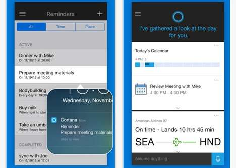 Competitor Assistant Apps - The Microsoft Cortana Intelligent Personal Assistant is Now on iOS