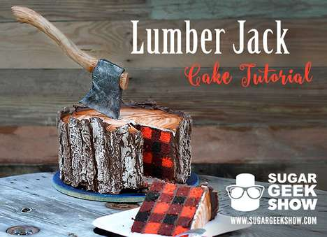 Lumberjack-Inspired Cakes - This Edible Tree Cake Features a Realistic Confectionery Axe on Top