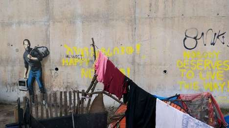 Poignant Refugee Graffiti - Bansky's Steve Jobs Mural Depicts His Discontent With the Refugee Crisis
