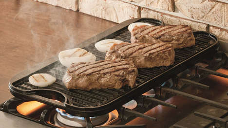Dual-Purpose Kitchen Equipment - The Lodge Reversible Cast Iron Grill Cooks a Variety of Foods