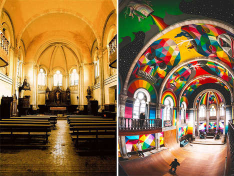 Remade Church Skateparks - The Kaos Temple is a Church Turned Skatepark with Colorful Graffiti Decor