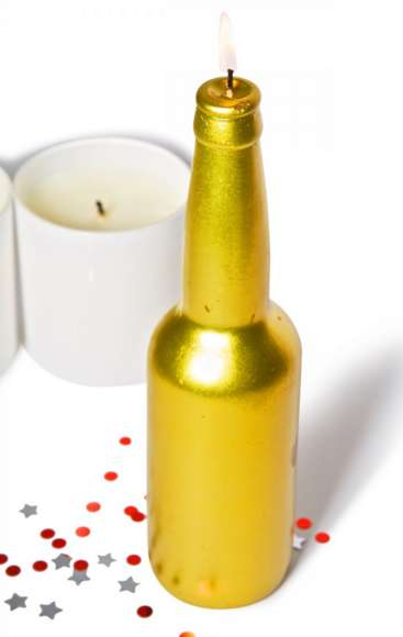 Gilded Beer Candles - The Gold Beer Candle Makes the Perfect Holiday Centerpiece
