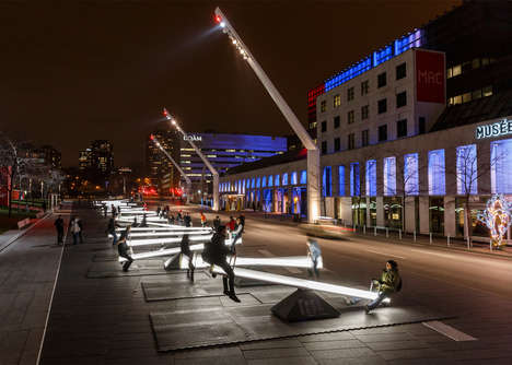 Luminous Seesaw Installations - This Outdoor Art Exhibit Features Dozens of Glowing Seesaws