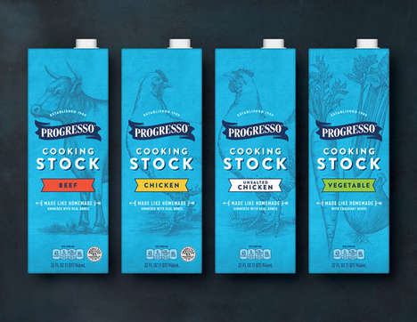 Homespun Soup Stock Branding - The Branding for Progresso's Soup Stocks Takes an Artisanal Approach