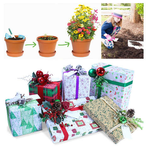 Plantable Wrapping Paper - The Blooming Plantables Biodegradable Gift Wrap Paper is Lined with Seeds
