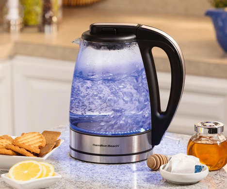 Transparent Tea Kettles - This Clear Electric Kettle Features a Backlit Soft Blue Light When in Use