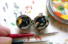 Worldly Locket Paintings - These Necklace Pendants Feature Drawings of Miniature Universes Inside