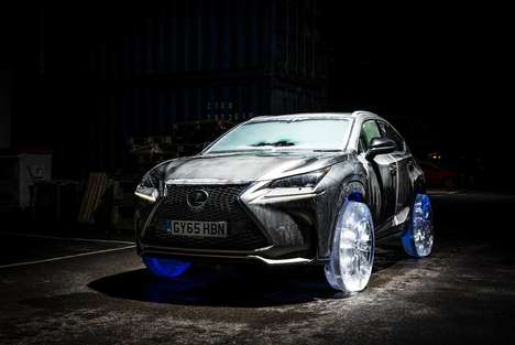 Ice Wheel Luxury Vehicles - The Lexus NX Receives an Icy Overhaul with Tires Made from Solid Ice