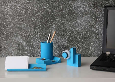 Substantial Cyan Stationery - Concrete Desk Accessories Exude a Lightness with Bright Color