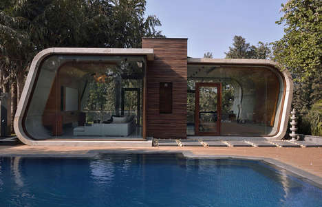 Curved Concrete Cabanas - This Modern Pool House in New Delhi Features a Modular Design Scheme