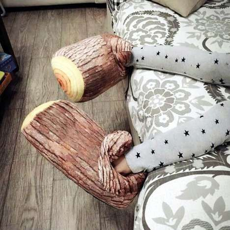 Wooden Log Slippers - These Stump Indoor Shoe Designs Bring a Sense of Nature to an Outfit