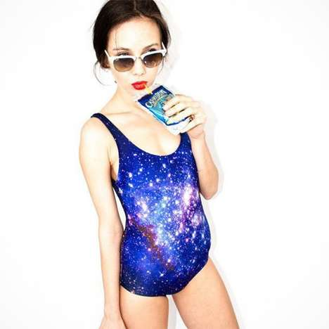 Realistic Universe Swimsuits - This Galaxy One Piece Bathing Suit Captures the Stars and Planets