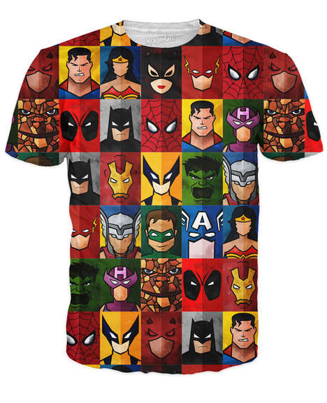 Portraiture Superhero Shirts - This Minimalist Top Features a Mix of Marvel and DC Comics Characters
