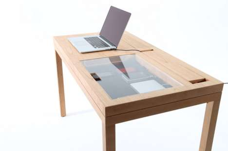 Display-Case Desks - A Modern Writing Desk Seamlessly and Subtly Accommodates Devices