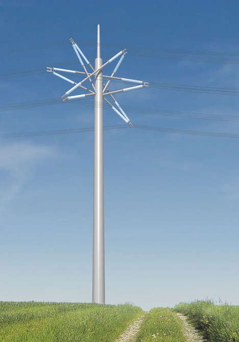 Starry Sculptural Pylons - This Modern Electricity Tower is Compact and Attractive
