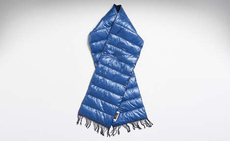 Puffer Jacket Scarves - The Nanamica Navy Down Neck Scarf Features a Wool Lining for Comfort