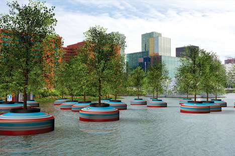 "Floating Forest Initiatives - Rotterdam Will Install a ""Bobbing Forest"" in 2016 for a Greener City"