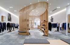 Vertical Latticed Retail Interiors - The APC Kyoto Store on Shijo Dori Gets a Modern Overhaul