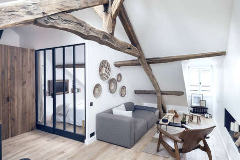 Rustic Attic Apartments - This Charming Parisian Apartment is Decorated with Raw Materials