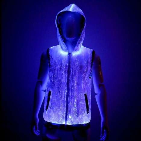 Fiber Optic Sweaters - This Zip-Up Hoodie Features an Illuminating Plastic Wire Fabric