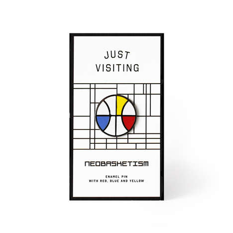 Mondrian Basketball Pins - The Neobasketism Pin by Just Visiting is for the Art and Sports Fan