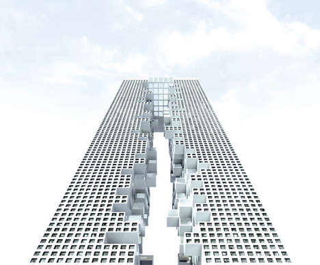 Dizzying Sky Scraper Pools - The Conceptual Skyframe Contains a Sky High Rooftop Pool Design