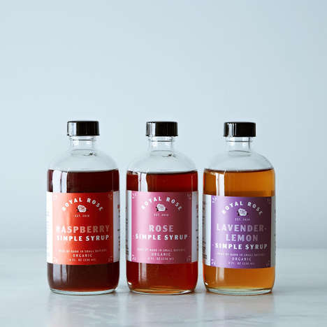 Fruity Floral Simple Syrups - This Trio of Cocktail Syrups Includes Fruit and Floral Blends
