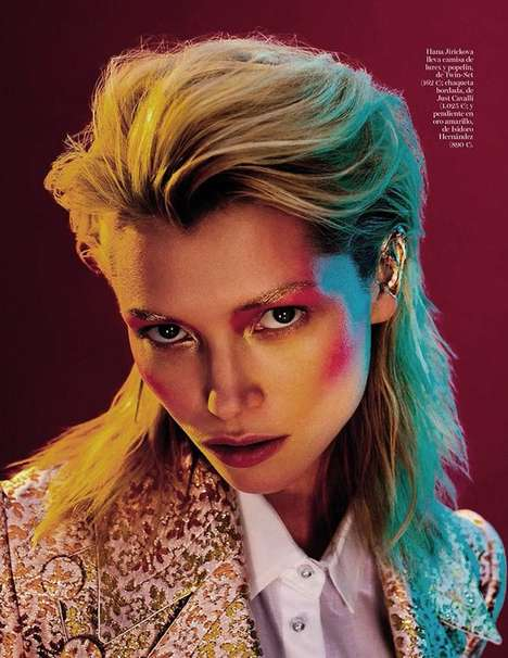 Vivid Glam Rock Editorials - Vogue Spain's 'DB' Editorial is a Hana Jirickova Feature
