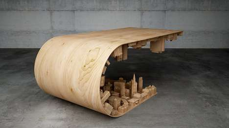 Curved Landscape Tables - The Wave City Wooden Coffee Table Conceals an Inverted 3D Urban Skyline