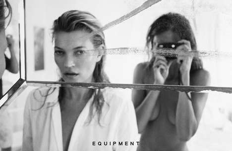 Selfie Fashion Campaigns - The Equipment Clothing Ads Feature Kate Moss in a Voyeuristic Perspective
