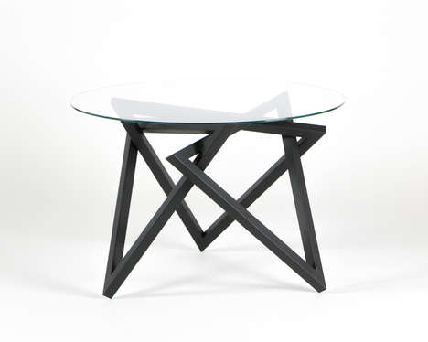 Tangled Metallic Tables - The Tangle Features One Leg Made from Intertwined Triangle Shapes