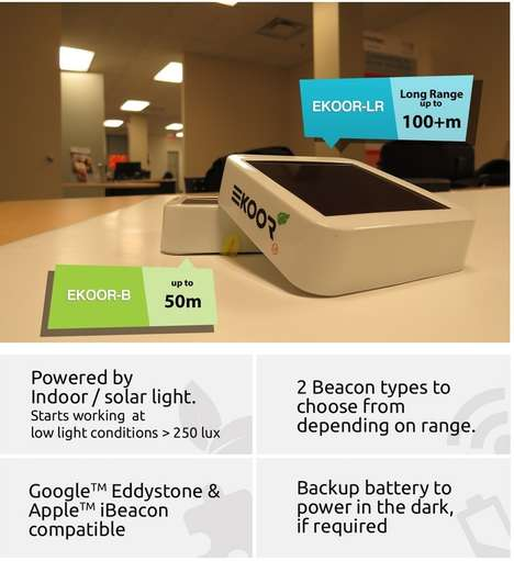 Solar Beacon Devices - The 'EKOOR' Solar Proximity Beacons Enable Light-Powered Digital Marketing