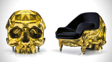 Geometric Skull Thrones - This Opulent Skull Lounge Armchair is Made from Luxe 24-Karate Gold