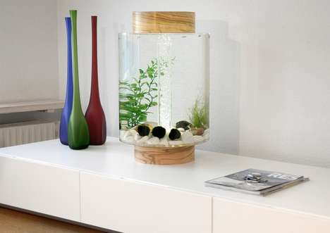 Cylindrical Fish Tanks - The Norrom Aquarium Modernizes the Classic Design in a Chic Way