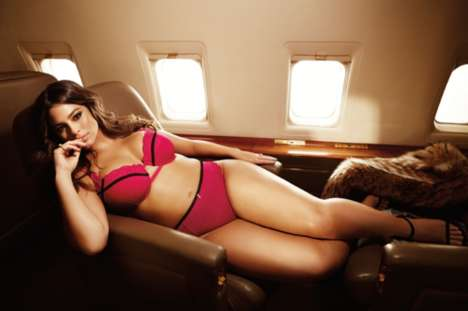 In-Flight Lingerie Photoshoots - Ashley Graham's La Scala Soars High in ADDITION ELLE Campaign