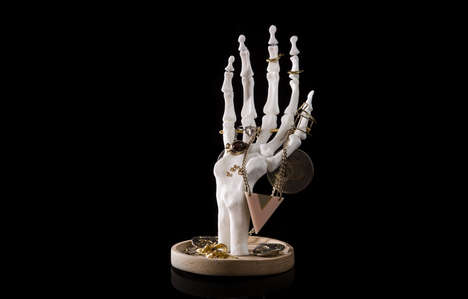 Skeletal Jewellery Tidies - This Personal Ornament Holder is Shaped Like a Realistic Skeleton Hand