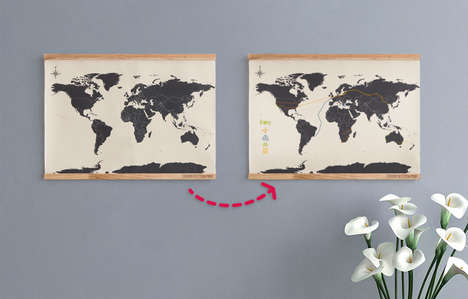 Personalized Stitched Maps - The Cross Stitch World Map Lets Consumers Visually Document Travels