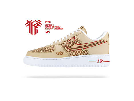Co-Branded Zodiac Kicks - These Nike Air Force 1s by Zhijun Wang Honor the Year of the Monkey