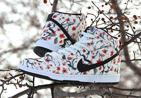 Cherry Blossom Sneakers - These Nike Shoes Feature a Striking Cherry Blossom Design